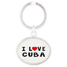 I Love Cuba Oval Keychain