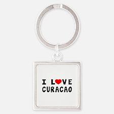 I Love Curacao Square Keychain