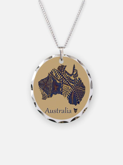 Decorative Australia Map Sou Necklace Circle Charm