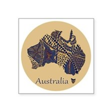 "Decorative Australia Map So Square Sticker 3"" x 3"""