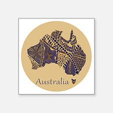 """Decorative Australia Map So Square Sticker 3"""" x 3"""""""
