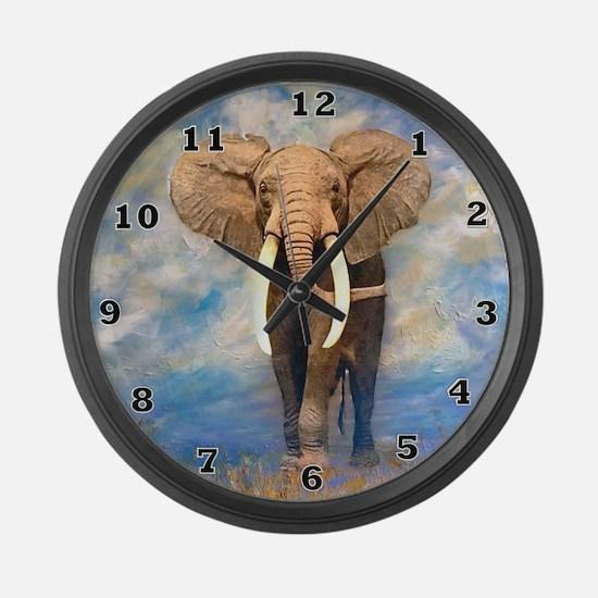 Bull Elephant Large Wall Clock