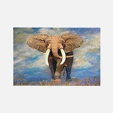 Bull Elephant Rectangle Magnet