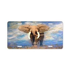 Bull Elephant Aluminum License Plate