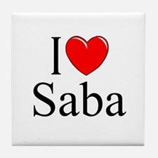 """I Love Saba"" Tile Coaster"