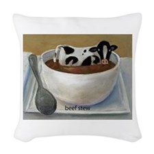 Beef Stew (Funny Farm) Woven Throw Pillow