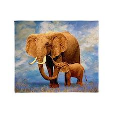 Elephant Mother Throw Blanket