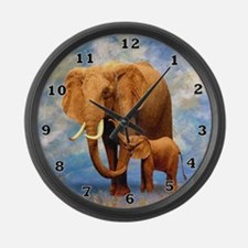 Elephant Mother Large Wall Clock