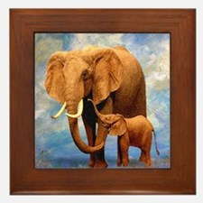 Elephant Mother Framed Tile