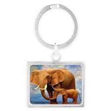 Elephant Mother Landscape Keychain