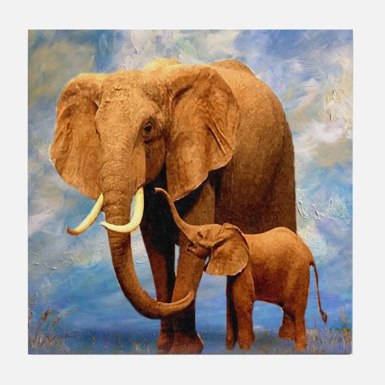 Elephant Mother Tile Coaster