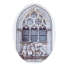 Catholic Saint Mark and Winged Lion Oval Ornament