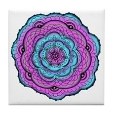 Blue and Violet Abstract Doily Flower Tile Coaster