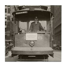 Brooklyn Bridge Trolley, 1915 Tile Coaster