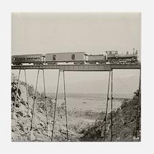 Train Crossing High Bridge Tile Coaster