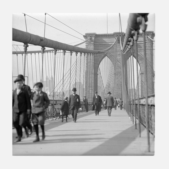Brooklyn Bridge Pedestrians Tile Coaster