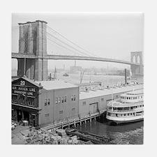Brooklyn Bridge and Docks Tile Coaster