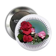 """Red Roses 2.25"""" Button"""