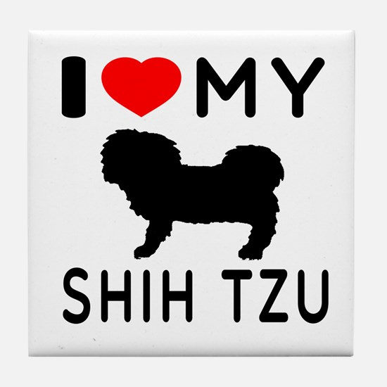 I Love My Dog Shih Tzu Tile Coaster