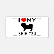 I Love My Dog Shih Tzu Aluminum License Plate