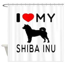 I Love My Dog Shiba Inu Shower Curtain