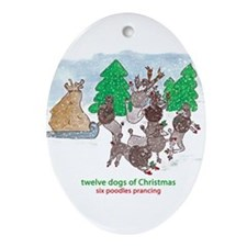 Six Poodles Prancing Ornament (Oval)