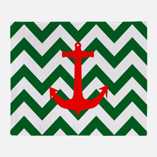 Christmas Red Nautical Anchor Green  Throw Blanket