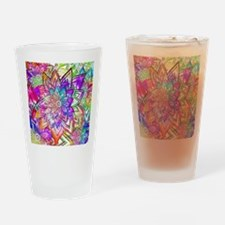 Colorful Vintage Floral Pattern Dra Drinking Glass