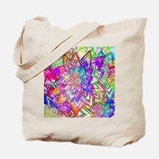 Colorful Vintage Floral Pattern Drawing W Tote Bag