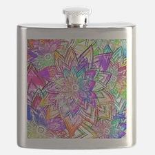 Colorful Vintage Floral Pattern Drawing Wate Flask