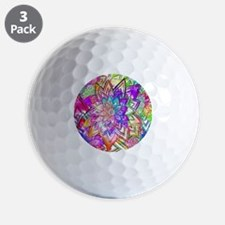 Colorful Vintage Floral Pattern Drawing Golf Ball