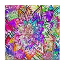 Colorful Vintage Floral Pattern Drawi Tile Coaster