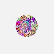 Colorful Vintage Floral Pattern Drawin Mini Button