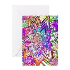Colorful Vintage Floral Pattern Draw Greeting Card