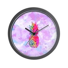 Bright Neon Hawaiian Pineapple Tropical Wall Clock
