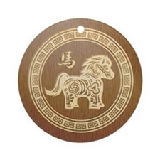 2014 New Year Chinese Wooden horse Ornament (Round