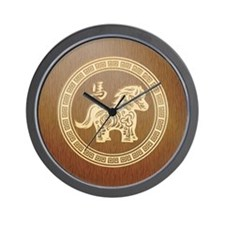 2014 New Year Chinese Wooden horse Wall Clock