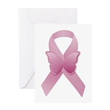 Pink Awareness Ribbon Greeting Cards