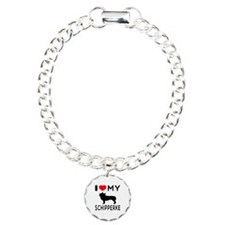 I Love My Dog Schipperke Charm Bracelet, One Charm
