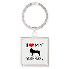 I Love My Dog Schipperke Square Keychain