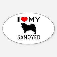 I Love My Dog Samoyed Sticker (Oval)