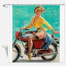 Pin Up Girl, Scooter, Vintage Poster Shower Curtai