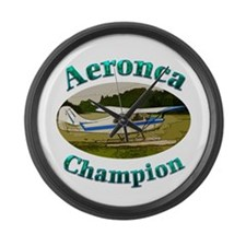 Aeronca Champ on floats Large Wall Clock