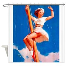 Pin Up Girl, Sailor, Vintage Poster Shower Curtain