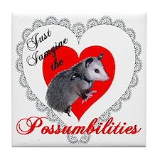 Possum Valentines Day Heart Tile Coaster