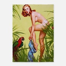 Pin Up Girl, Jungle, Vintage Poster 5'X7'area Rug