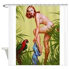Pin Up Girl, Jungle, Vintage Poster Shower Curtain