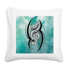 treble clef soft aqua Square Canvas Pillow