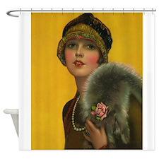 Flapper, Girl, Art Deco, Vintage Poster Shower Cur