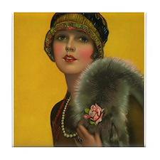 Flapper, Girl, Art Deco, Vintage Poster Tile Coast
